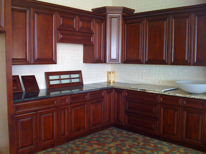 Kitchen image kitchen bathroom design center for Cherry wood kitchen cabinets price