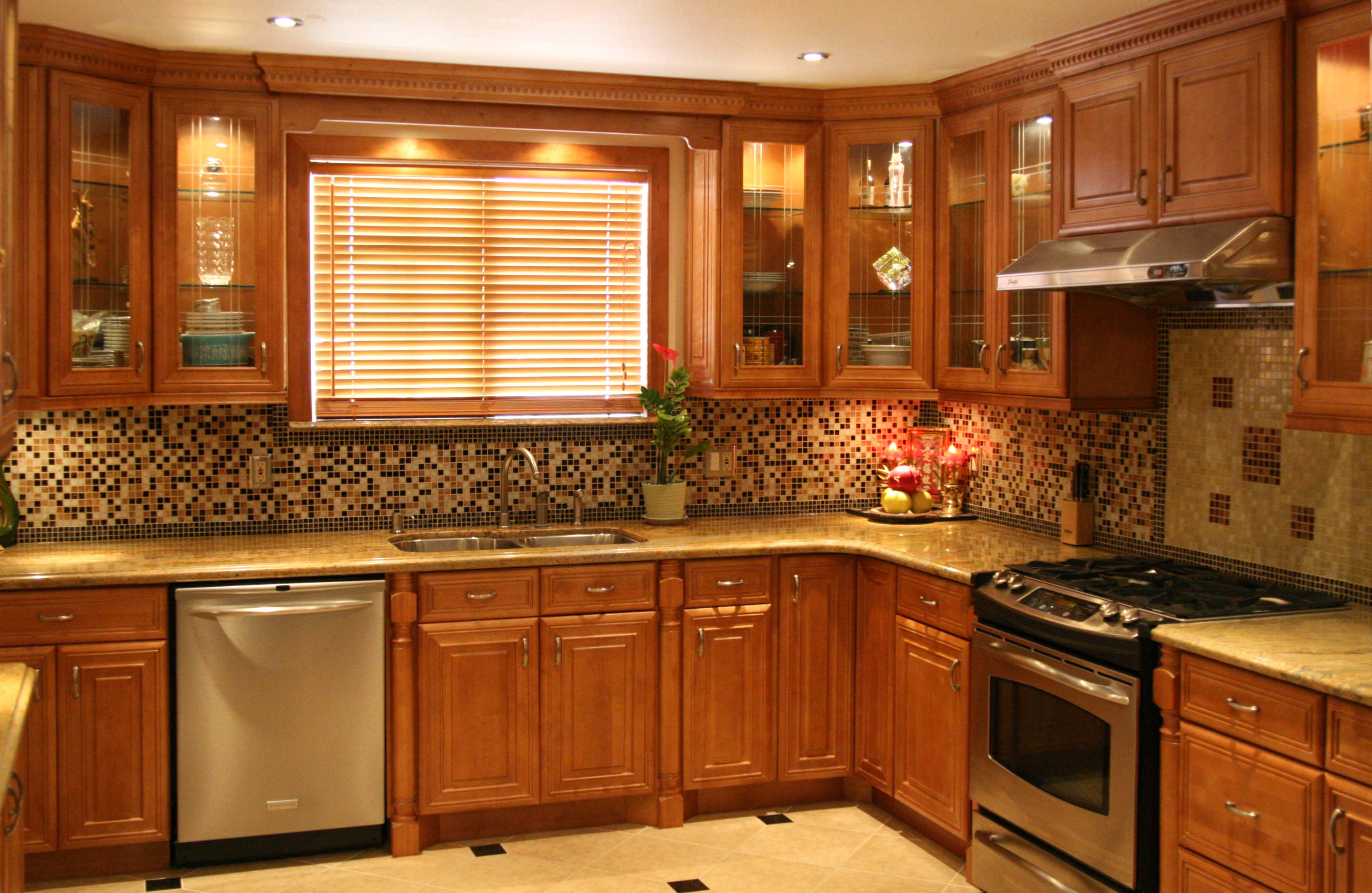 Remarkable Honey Oak Kitchen Cabinets With Backsplash 3416 X 2224 . Full resolution‎  photo, nominally Width 3416 Height 2224 pixels, photo with #C17B0A.