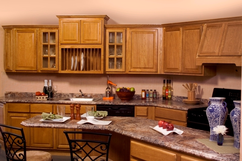 Country Oak 3. Dark Oak Cabinets
