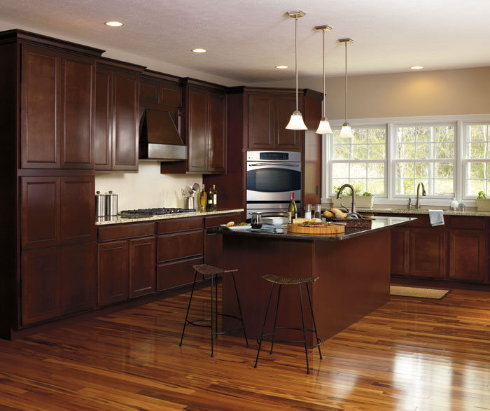 Modern Maple Cabinets With Dark Wood Floor